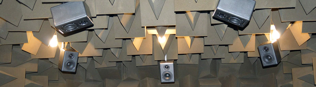 Ceiling speakers in an anechoic chamber.