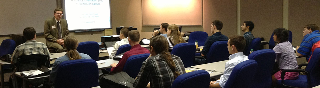 Students listen during a lecture.